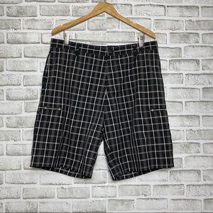 Adidas plaid black & white men's shorts Sz 36